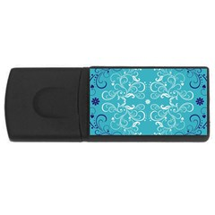 Repeatable Flower Leaf Blue Usb Flash Drive Rectangular (4 Gb) by Mariart