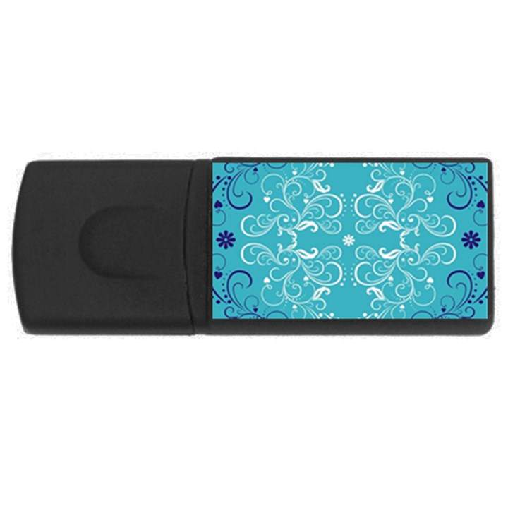 Repeatable Flower Leaf Blue USB Flash Drive Rectangular (4 GB)