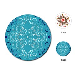 Repeatable Flower Leaf Blue Playing Cards (round)  by Mariart