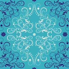 Repeatable Flower Leaf Blue Canvas 12  X 12   by Mariart