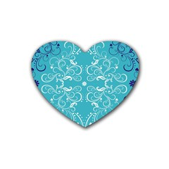 Repeatable Flower Leaf Blue Rubber Coaster (heart)  by Mariart