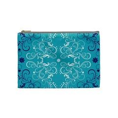 Repeatable Flower Leaf Blue Cosmetic Bag (medium)  by Mariart