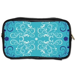 Repeatable Flower Leaf Blue Toiletries Bags 2 Side by Mariart