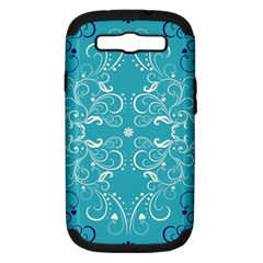 Repeatable Flower Leaf Blue Samsung Galaxy S Iii Hardshell Case (pc+silicone) by Mariart