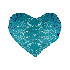 Repeatable Flower Leaf Blue Standard 16  Premium Heart Shape Cushions by Mariart