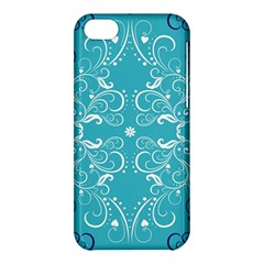 Repeatable Flower Leaf Blue Apple Iphone 5c Hardshell Case by Mariart