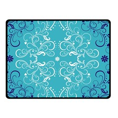 Repeatable Flower Leaf Blue Double Sided Fleece Blanket (small)  by Mariart
