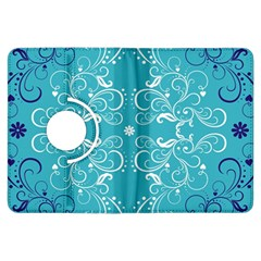 Repeatable Flower Leaf Blue Kindle Fire Hdx Flip 360 Case by Mariart