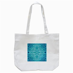 Repeatable Flower Leaf Blue Tote Bag (white) by Mariart