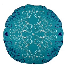 Repeatable Flower Leaf Blue Large 18  Premium Flano Round Cushions by Mariart