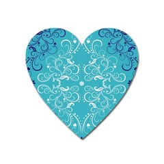 Repeatable Flower Leaf Blue Heart Magnet by Mariart