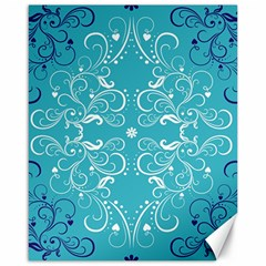 Repeatable Flower Leaf Blue Canvas 16  X 20