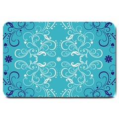 Repeatable Flower Leaf Blue Large Doormat  by Mariart