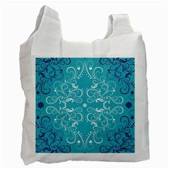 Repeatable Flower Leaf Blue Recycle Bag (one Side) by Mariart