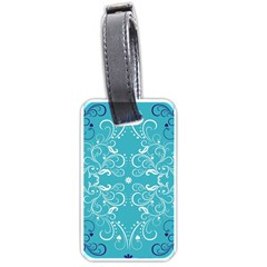 Repeatable Flower Leaf Blue Luggage Tags (two Sides) by Mariart