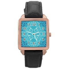 Repeatable Flower Leaf Blue Rose Gold Leather Watch  by Mariart