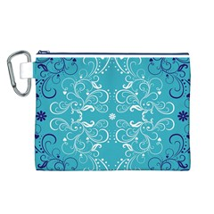 Repeatable Flower Leaf Blue Canvas Cosmetic Bag (l) by Mariart