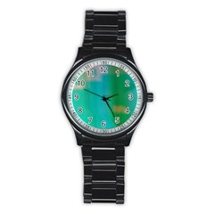 Shadow Faintly Faint Line Green Stainless Steel Round Watch by Mariart