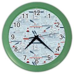 Ships Sails Color Wall Clocks by Mariart