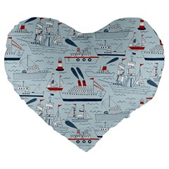 Ships Sails Large 19  Premium Heart Shape Cushions by Mariart