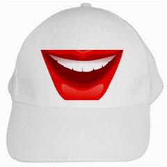 Smile Lips Transparent Red Sexy White Cap by Mariart