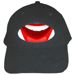 Smile Lips Transparent Red Sexy Black Cap by Mariart