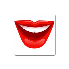 Smile Lips Transparent Red Sexy Square Magnet by Mariart