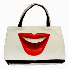 Smile Lips Transparent Red Sexy Basic Tote Bag by Mariart