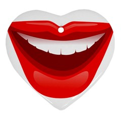 Smile Lips Transparent Red Sexy Heart Ornament (two Sides) by Mariart