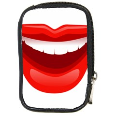Smile Lips Transparent Red Sexy Compact Camera Cases by Mariart
