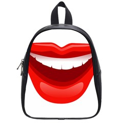 Smile Lips Transparent Red Sexy School Bags (small)  by Mariart