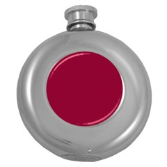Burgundy Solid Color  Round Hip Flask (5 Oz) by SimplyColor