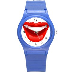 Smile Lips Transparent Red Sexy Round Plastic Sport Watch (s) by Mariart