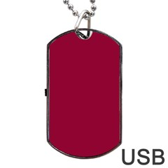 Burgundy Solid Color  Dog Tag Usb Flash (two Sides) by SimplyColor