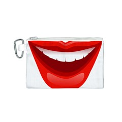 Smile Lips Transparent Red Sexy Canvas Cosmetic Bag (s) by Mariart