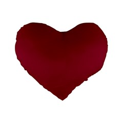Burgundy Solid Color  Standard 16  Premium Flano Heart Shape Cushions by SimplyColor
