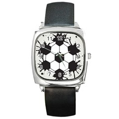 Soccer Camp Splat Ball Sport Square Metal Watch by Mariart