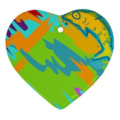 Skatepark Seaworld Fish Ornament (heart) by Mariart