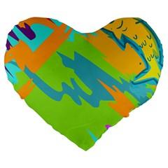 Skatepark Seaworld Fish Large 19  Premium Heart Shape Cushions by Mariart
