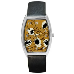 Surface Patterns Spot Polka Dots Black Barrel Style Metal Watch by Mariart