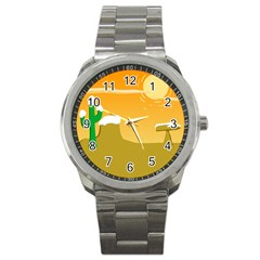 Sunrise Sunset Desert Sun Light Orange Ice Snow Sport Metal Watch by Mariart