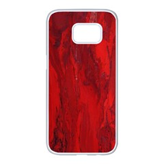 Stone Red Volcano Samsung Galaxy S7 Edge White Seamless Case by Mariart
