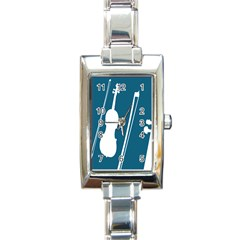 Violin Music Blue Rectangle Italian Charm Watch by Mariart