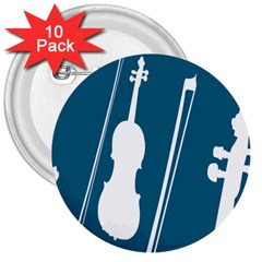 Violin Music Blue 3  Buttons (10 Pack)  by Mariart