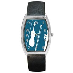 Violin Music Blue Barrel Style Metal Watch by Mariart