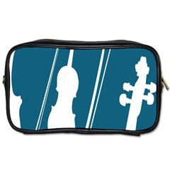 Violin Music Blue Toiletries Bags 2 Side by Mariart