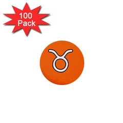 Taurus Symbol Sign Orange 1  Mini Buttons (100 Pack)  by Mariart