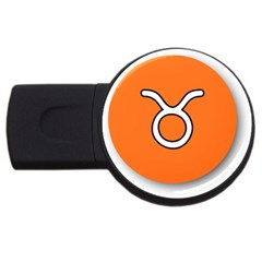 Taurus Symbol Sign Orange Usb Flash Drive Round (4 Gb) by Mariart