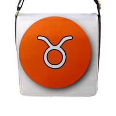 Taurus Symbol Sign Orange Flap Messenger Bag (l)