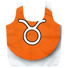 Taurus Symbol Sign Orange Full Print Recycle Bags (l)  by Mariart
